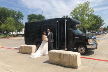 wedding couple and party buses in Dallas
